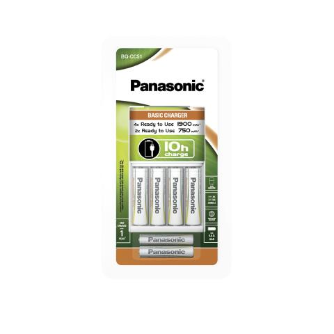 Product image BQ-CC51 charger including 4 Panasonic Ready to use AA 1900 mAh